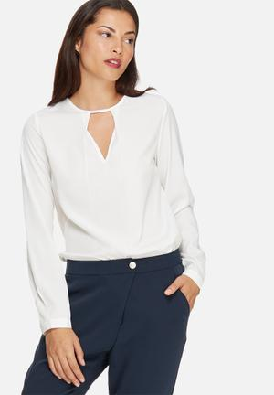 Vero Moda Vivi Pleat Top Blouses White