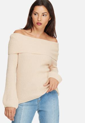 Vero Moda Ida Off Shoulder Top Knitwear Pink
