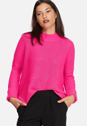 Noisy May Vera Funnel Neck Knit Knitwear Pink