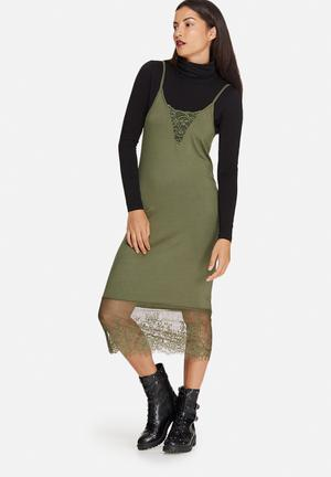 Noisy May Lana Lace Dress Occasion Green
