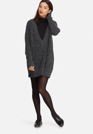 Noisy May Twist Deep V-neck Knit Knitwear Charcoal