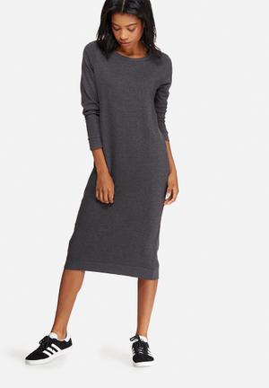 Jacqueline De Yong Newton Long Sweat Dress Casual Grey