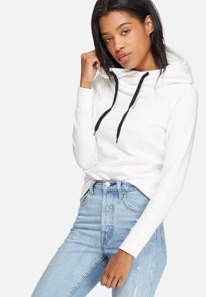 Jacqueline De Yong Tori Hooded Sweat Hoodies & Jackets White