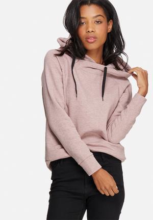 Jacqueline De Yong Tori Hooded Sweat Hoodies & Jackets Pink