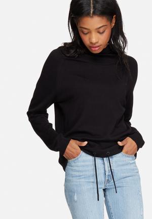 Jacqueline De Yong Cash Hooded Sweater Knitwear Black
