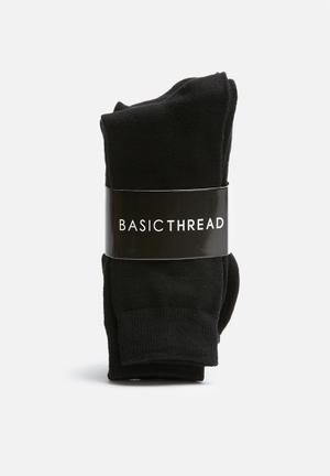 Basicthread Plain Socks - 3 Pack Black