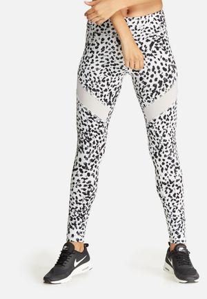 Southbeach  Leopard All Over Legging Bottoms Black, White & Neon Yellow