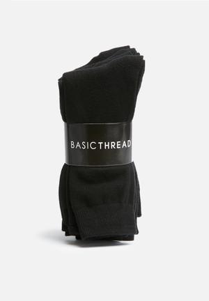 Basicthread Plain Socks - 5 Pack Black