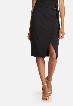 Dailyfriday Mock Wrap Pencil Skirt Black