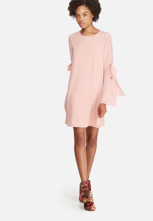 Dailyfriday Tie Sleeve Tunic Dress Formal Pink
