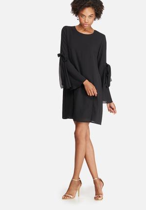 Dailyfriday Tie Sleeve Tunic Dress Formal Black