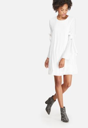 Dailyfriday Tie Sleeve Tunic Dress Formal White
