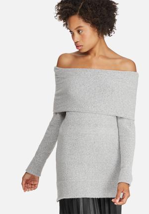 Dailyfriday Off Shoulder Tunic Knitwear Grey Melange