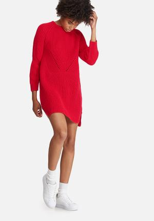 Dailyfriday Stitch Detail Knitwear Dress Casual Red