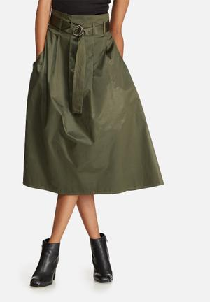 Dailyfriday Belted High Waisted Midi Skirt Khaki