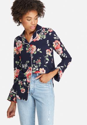 Dailyfriday Tipped Pyjama Shirt Navy, Green, Pink & Beige