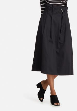 Dailyfriday Belted High Waisted Midi Skirt Black