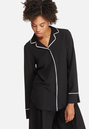 Dailyfriday Tipped Pyjama Shirt Black