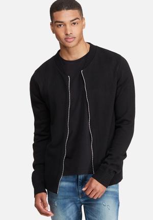 Basicthread Knit Bomber Knitwear Black