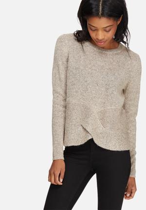 Pieces Flexi Alpaca Wool Knit Knitwear Grey & Soft Pink Melange