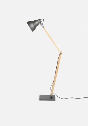 Sixth Floor John Folding Stand Floor Lamp Lighting Wood & Metal