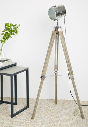 Sixth Floor Simon Tripod Floor Lamp Lighting Wood & Metal
