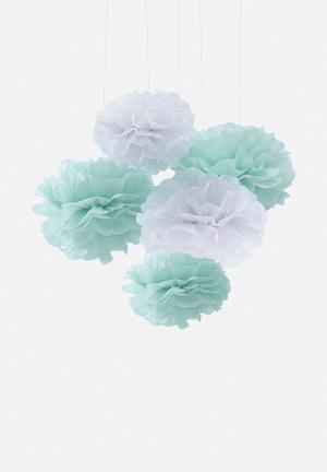 Ginger Ray Mint & White Pom Poms Partyware Paper