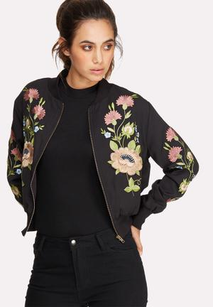 Glamorous Embroidered Bomber Jackets Black, Green, Pink & Blue