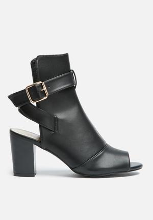 Glamorous Kelly Peep Toe Boot Heels Black