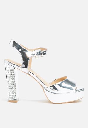 Glamorous Christina Platform Heels Silver