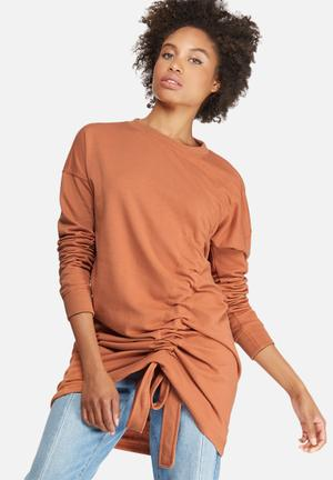 Missguided Ruched Detail Sweat Dress Casual Orange