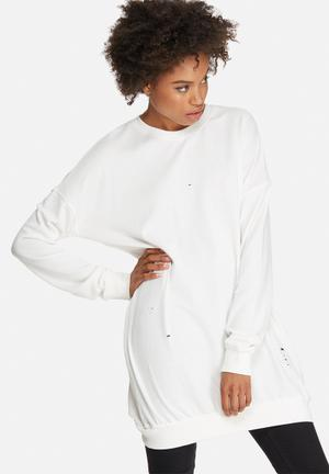 Missguided Distressed Ribbed Oversized Sweat Dress Casual White