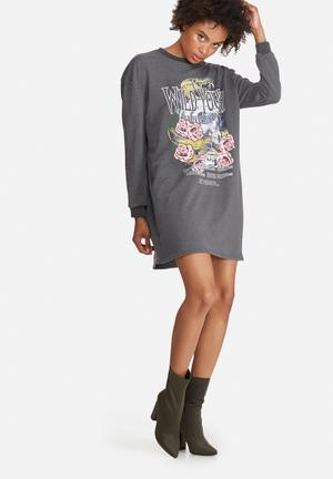 Missguided Wild Youth Graphic Printed Rock Sweat Dress Casual Grey, White, Pink, Yellow & Blue