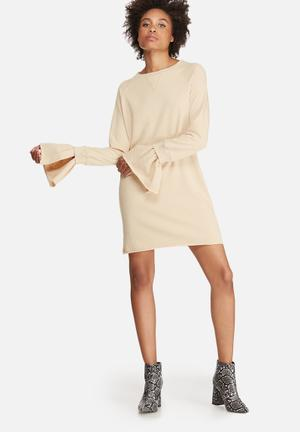 Missguided Rib Detail Flared Cuff Sweat Dress Casual Cream