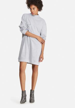 Missguided Pocket High Neck Sweat Dress Casual Grey