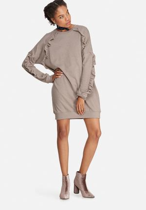 Missguided Frill Sleeve Sweat Dress Casual Brown