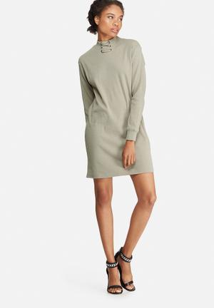 Missguided Eyelet Neck Detail Rib Sweat Dress Casual Khaki Green
