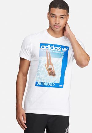 Adidas Originals Graphic Girl Tee T-Shirts White & Blue