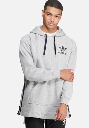 Adidas Originals Elongated Hood Sweat Hoodies & Sweatshirts Grey & Black