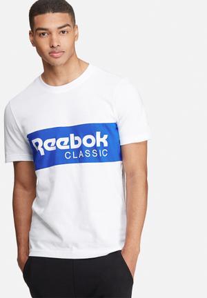Reebok Archive Stripe Tee T-Shirts White & Blue