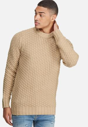Bellfield Alroy Textured Pullover Knit Knitwear Camel