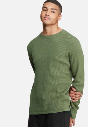 Bellfield Mowbray Rib Pullover Knit Knitwear Khaki