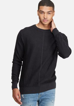 Bellfield Mens Engineered Rib Jumper Knitwear Black & Grey