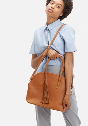 FSP Collection Lassie Leather Bowling Bag Tan