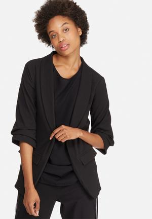 Dailyfriday Ruched Sleeve Blazer Jackets Black