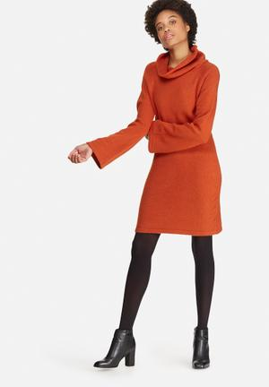 Dailyfriday Fluted Sleeve Knitwear Dress Casual Orange