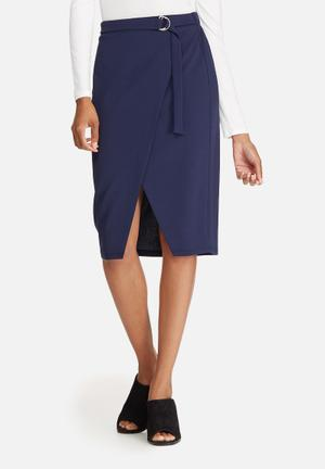 Dailyfriday Mock Wrap Pencil Skirt Navy