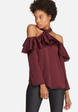 Dailyfriday Cold Shoulder Frill Blouse Burgundy