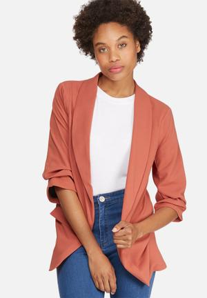 Dailyfriday Ruched Sleeve Blazer Jackets Burnt Orange