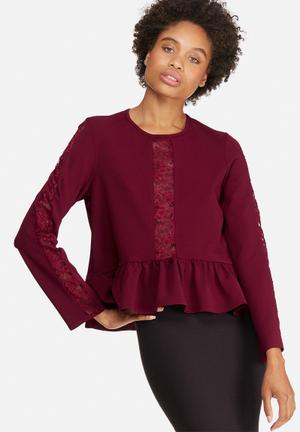 Dailyfriday Peplum Lace Inset Blouse Burgundy